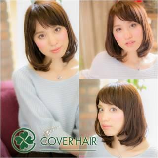 ミディアム コンサバ パーマ ブラウンベージュ ヘアスタイルや髪型の写真・画像