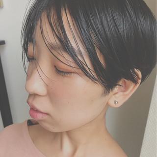 前髪あり 抜け感 ショート ウェットヘア ヘアスタイルや髪型の写真・画像