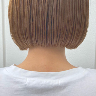 ベージュ ミルクティーベージュ 韓国ヘア タッセルボブ ヘアスタイルや髪型の写真・画像