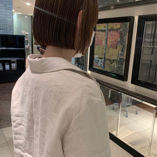 アンニュイほつれヘア 大人かわいい ナチュラル ミニボブ ヘアスタイルや髪型の写真・画像