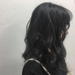 暗髪 アンニュイ ガーリー セミロング ヘアスタイルや髪型の写真・画像