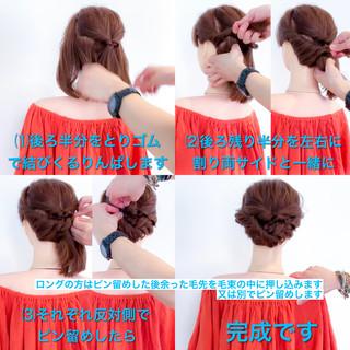 フェミニン ロング ヘアアレンジ 結婚式 ヘアスタイルや髪型の写真・画像