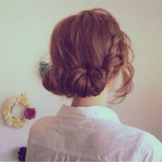 ロング ヘアアレンジ 外国人風 編み込み ヘアスタイルや髪型の写真・画像