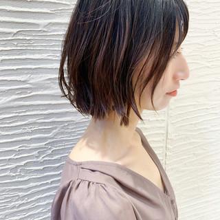 前髪 ナチュラル 外ハネボブ 切りっぱなしボブ ヘアスタイルや髪型の写真・画像