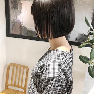ミニボブ ショートボブ 縮毛矯正 黒髪 ヘアスタイルや髪型の写真・画像