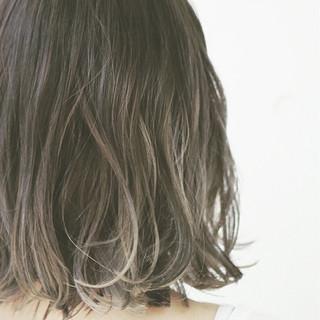グラデーションカラー ボブ ハイライト ナチュラル ヘアスタイルや髪型の写真・画像