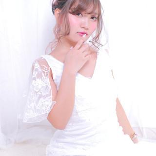 ロング 結婚式ヘアアレンジ ゆるふわセット 撮影 ヘアスタイルや髪型の写真・画像