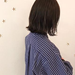 地毛風カラー ミディアム ナチュラル 黒髪 ヘアスタイルや髪型の写真・画像