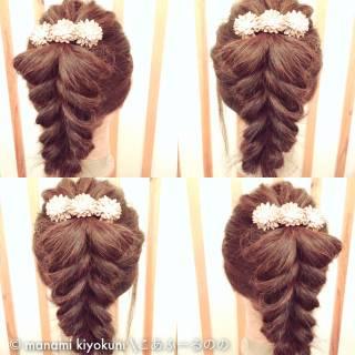 ガーリー セミロング ヘアアレンジ ポニーテール ヘアスタイルや髪型の写真・画像 ヘアスタイルや髪型の写真・画像