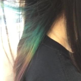 黒髪 ロング ハイライト カラフルカラー ヘアスタイルや髪型の写真・画像