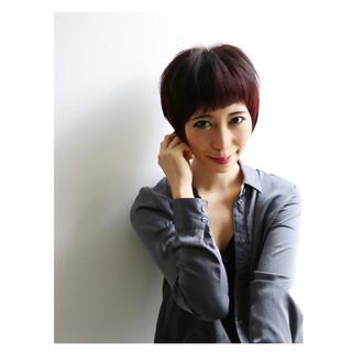 暗髪 ショート こなれ感 大人女子 ヘアスタイルや髪型の写真・画像