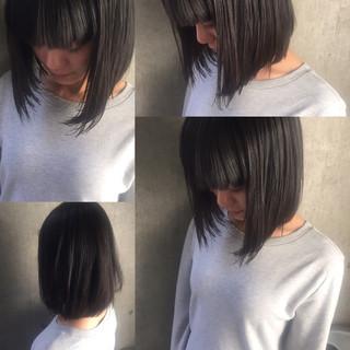 ボブ 外ハネ 前髪あり 暗髪 ヘアスタイルや髪型の写真・画像