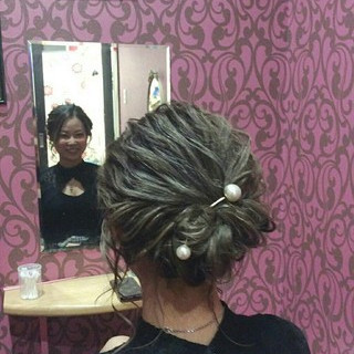 ヘアアレンジ ミディアム エレガント 結婚式 ヘアスタイルや髪型の写真・画像