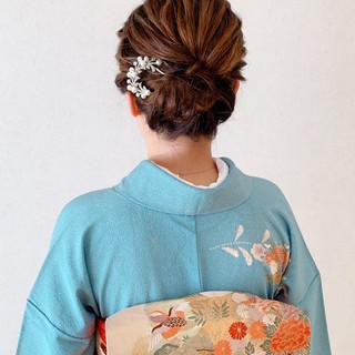 ヘアアレンジ エレガント 訪問着 ミニボブ ヘアスタイルや髪型の写真・画像