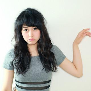黒髪 ストリート ロング 前髪あり ヘアスタイルや髪型の写真・画像