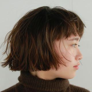 ミニボブ ショート パーマ くせ毛風 ヘアスタイルや髪型の写真・画像