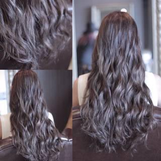 ウェーブ モード 暗髪 ロング ヘアスタイルや髪型の写真・画像