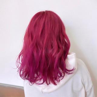 ミディアム ハイトーン 派手髪 暖色 ヘアスタイルや髪型の写真・画像
