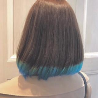 フェミニン ボブ ブリーチ グラデーションカラー ヘアスタイルや髪型の写真・画像