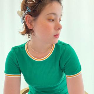 ヘアピン 簡単ヘアアレンジ ゆるふわパーマ ショートボブ ヘアスタイルや髪型の写真・画像