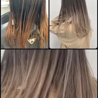 外国人風 ロング グラデーションカラー ハイトーン ヘアスタイルや髪型の写真・画像