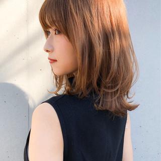 ブラウン ミディアム オレンジブラウン ショコラブラウン ヘアスタイルや髪型の写真・画像