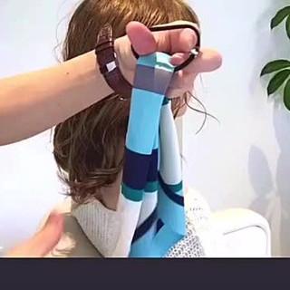 セミロング 女子会 簡単ヘアアレンジ アウトドア ヘアスタイルや髪型の写真・画像