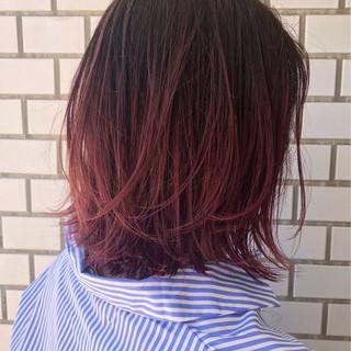 ピンク グラデーションカラー ハイトーン モード ヘアスタイルや髪型の写真・画像