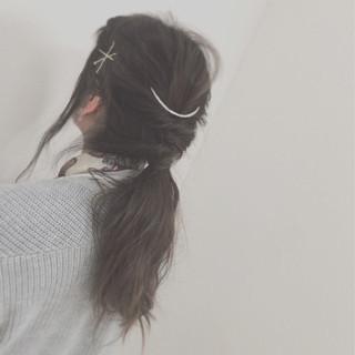 ヘアアクセ ゆるふわ 編み込み ヘアアレンジ ヘアスタイルや髪型の写真・画像