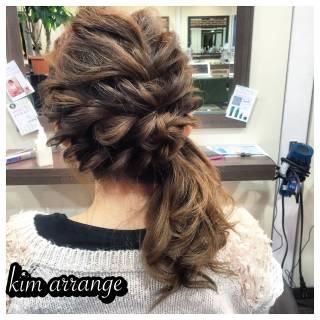 ヘアアレンジ ポニーテール 編み込み 簡単ヘアアレンジ ヘアスタイルや髪型の写真・画像