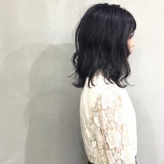 ラベンダー 簡単スタイリング ミディアム ナチュラル ヘアスタイルや髪型の写真・画像