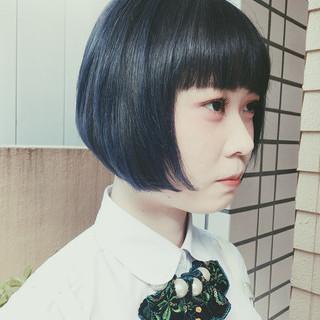 ブルー ブルージュ ネイビー ショート ヘアスタイルや髪型の写真・画像