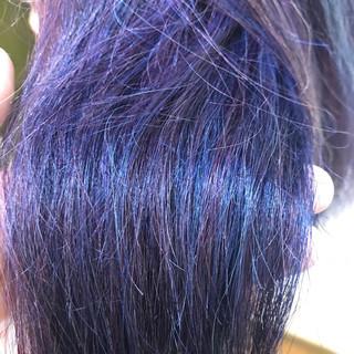 パープル ダブルカラー ネイビー ロング ヘアスタイルや髪型の写真・画像