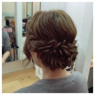 大人かわいい ラフ 編み込み ミディアム ヘアスタイルや髪型の写真・画像