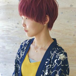 ガーリー マッシュショート アプリコットオレンジ ショート ヘアスタイルや髪型の写真・画像
