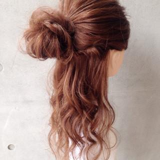 ロング フェミニン ショート ハーフアップ ヘアスタイルや髪型の写真・画像