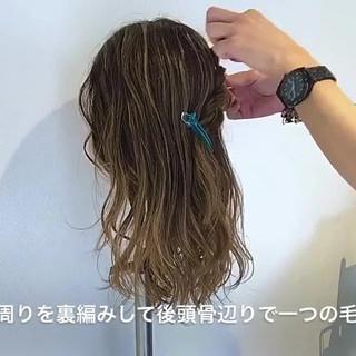 結婚式 セミロング 外国人風 編み込み ヘアスタイルや髪型の写真・画像