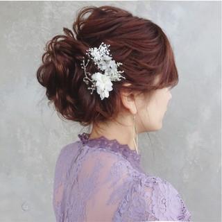 パーティ 上品 セミロング 結婚式 ヘアスタイルや髪型の写真・画像