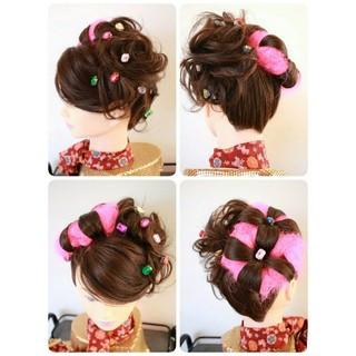 和装 和服 セミロング 着物 ヘアスタイルや髪型の写真・画像