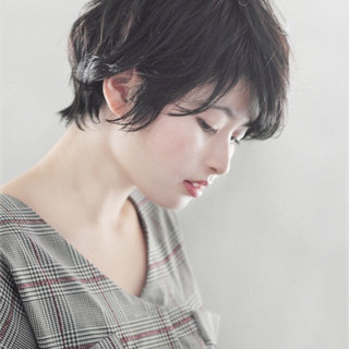 暗髪 ショート 黒髪 デート ヘアスタイルや髪型の写真・画像 ヘアスタイルや髪型の写真・画像