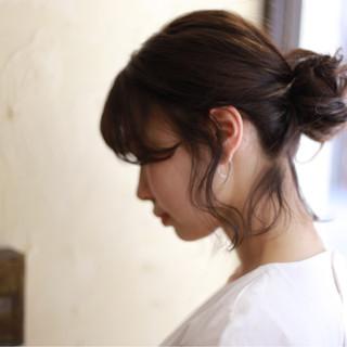 ルーズ 簡単ヘアアレンジ ボブ お団子 ヘアスタイルや髪型の写真・画像 ヘアスタイルや髪型の写真・画像