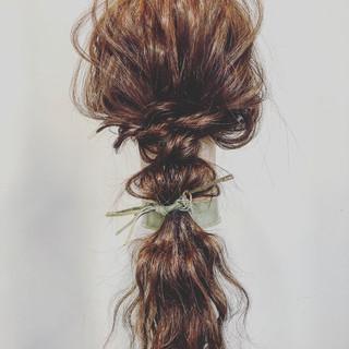 ストリート 簡単ヘアアレンジ ロング 編みおろしヘア ヘアスタイルや髪型の写真・画像