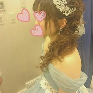 ドレス ヘアアレンジ ブライダル 大人かわいい ヘアスタイルや髪型の写真・画像