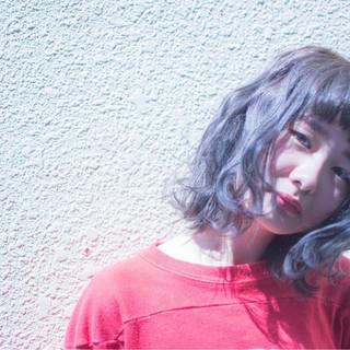アッシュグレージュ ボブ ハイライト グレージュ ヘアスタイルや髪型の写真・画像