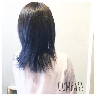 アンニュイ ストリート セミロング グラデーションカラー ヘアスタイルや髪型の写真・画像