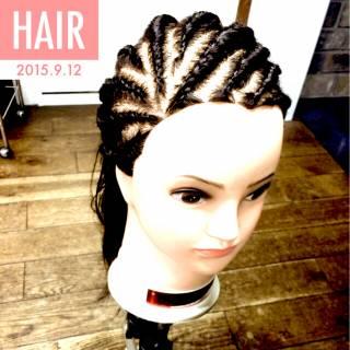 黒髪 ヘアアレンジ ロング ストリート ヘアスタイルや髪型の写真・画像