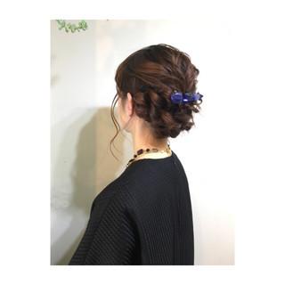 編み込み 大人かわいい ミディアム ハーフアップ ヘアスタイルや髪型の写真・画像