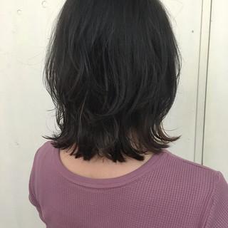 暗髪 ナチュラル ミディアム 艶髪 ヘアスタイルや髪型の写真・画像