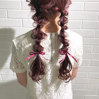 簡単ヘアアレンジ ロング 編みおろし ガーリー ヘアスタイルや髪型の写真・画像