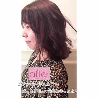 フェミニン ピンクブラウン 小顔 ボブ ヘアスタイルや髪型の写真・画像